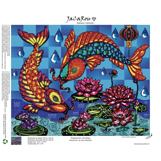 Broderie de diamants Poissons Koï 50 cm x 40 cm