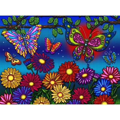 FLOWERS AND BUTTERFLIES 300 XXL pieces jigsaw puzzle