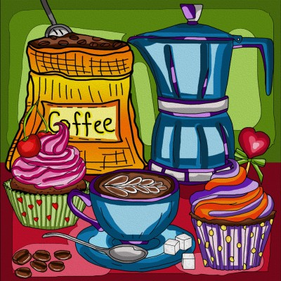 COFFEE BREAK by: ANIE MALTAIS 12'' x 12''