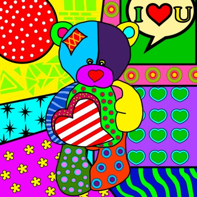 POP ART TEDDY par: ANIE MALTAIS 12'' x 12''