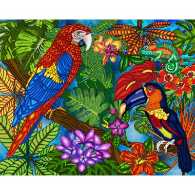 Broderie de diamants TROPICAL 50 cm x 40 cm