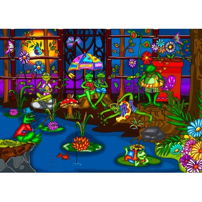 FROGS' SUMMER CAMP 1000 pieces jigsaw puzzle by ANIE MALTAIS