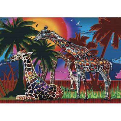 RAINBOW GIRAFFES 1000 pieces jigsaw puzzle by ANIE MALTAIS