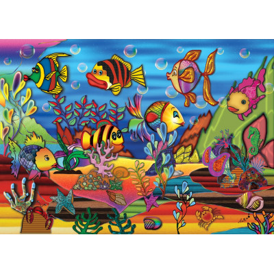 COLOR THE SEA 200 larger pieces reversible jigsaw puzzle