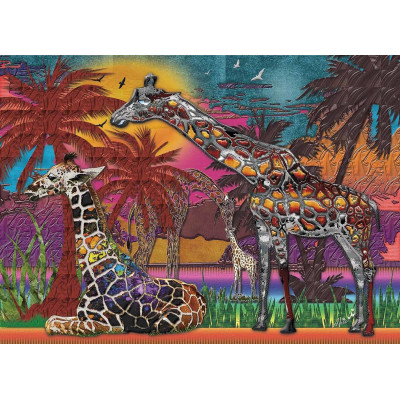 RAINBOW GIRAFFES 1000 pieces jigsaw puzzle