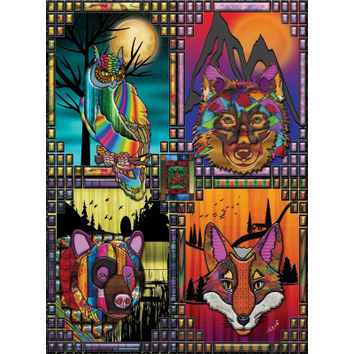 OWL, WOLF, BEAR AND FOX 200 larger pieces jigsaw puzzle