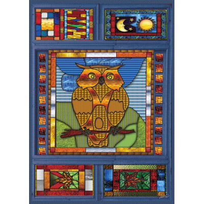 STAINED GLASS OWL 1000 pieces jigsaw puzzle